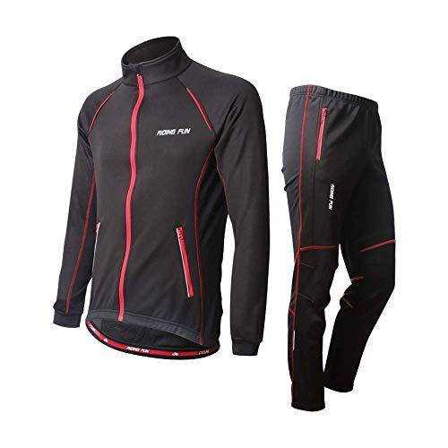 d.Stil - Maglia da ciclismo da uomo, in pile, traspirante, a maniche lunghe + pantaloncini da ciclismo M - 2XL, Uomo, nero/rosso, XXL