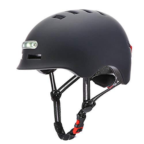 Casco de bicicleta para adultos hombres mujeres con luz USB recargable casco de bicicleta con espuma gruesa para accesorios de ciclismo urbano negro