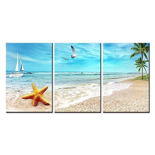 Impresión de Lienzo de Pared Arte Pintura playa arena de paisaje con Palm árboles Golden estrella de mar Sea Gull Flying en el cielo y barco de vela en azul mar 3 piezas Panel