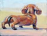 Kits de peinture diamant bricolage 5D,Daschund pet portrait chiot chien canin, Plein Foret Rond Cristal Strass Diamant Broderie Arts Peinture pour La Décoration Murale 12'X16'