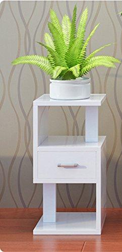 QFF Salon de plusieurs étages véritable cadre de fleurs en bois balcon suspendu Pots d'orchidée étagère de rayon vert intérieur étagère de plancher ( Couleur : Blanc , taille : 28*28*88cm )