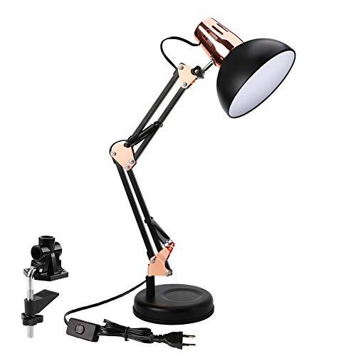 Powerking Lampe de bureau,Lampe de travail d'architecte à bras articulé réglable avec pince Lamp Lampe de bureau classique pour la lecture à domicile (or noir)