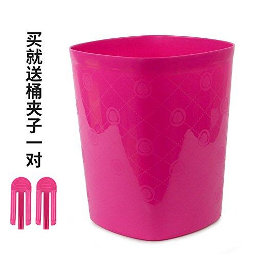 Bacs à ordures extérieurs Xiuxiutian Couvercle en plastique chambre salon bureau corbeilles carrés 22,5*22,5*27,5 cm), rouge