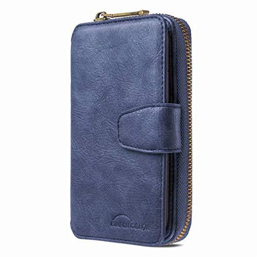 Handyhülle für Huawei P Smart Z Hülle Wallet Case Premium PU Leder 11 Kartenfach Reißverschluss Abnehmbare Brieftasche Magnetverschluss Handtasche Filp Tasche Schutzhülle für Huawei P Smart Z Blau