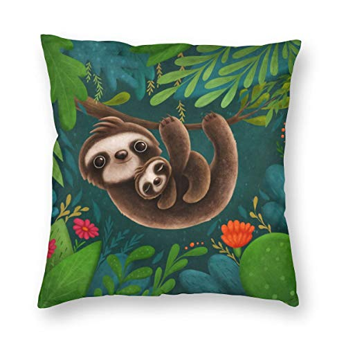 Hangdachang Cute Sloths Throw Pillow Covers Decorative Square Cushion Cases 45 X 45 cm/18 X 18 Inch