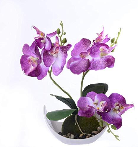 Yew Tree Home - Planta artificial de orquídeas y maceta de orquídeas artificiales moradas arreglos de flores en florero para decoración de mesa (púrpura)…
