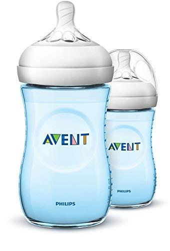 Philips Avent Lot de 2 biberons anti-coliques à large goulot Natural, SCF035/27, 260 ml, plastique, dès 1M biberon, bleu