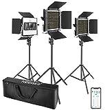 Neewer 3 Packs 660 LED Video Lumière avec APP Contrôle, Kit d'Éclairage Vidéo pour Photographie avec Supports d'Éclairage, Dimmable 40W Bi-Colore 3200K-5600K High CRI avec Diffuseur, Barndoor, Sac