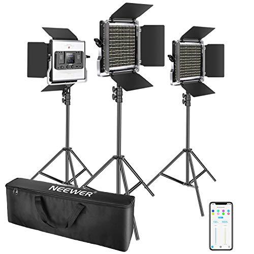 Neewer 3 Packs Luz Video LED 660 con Control de Aplicaciones Kit Iluminación de Video y Soporte de Luz Regulable 40W Bicolor 3200K-5600K Alto CRI con Difusor Barndoor Bolsa para Estudio
