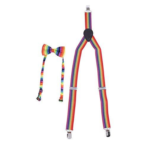 Toyvian Regenbogen Homosexuell Stolz Kostüm Set, verstellbare x zurück elastische Hosenträger und Regenbogen Farbe Fliege, Halloween Unisex Regenbogen Party Zubehör (65x2,5 cm)