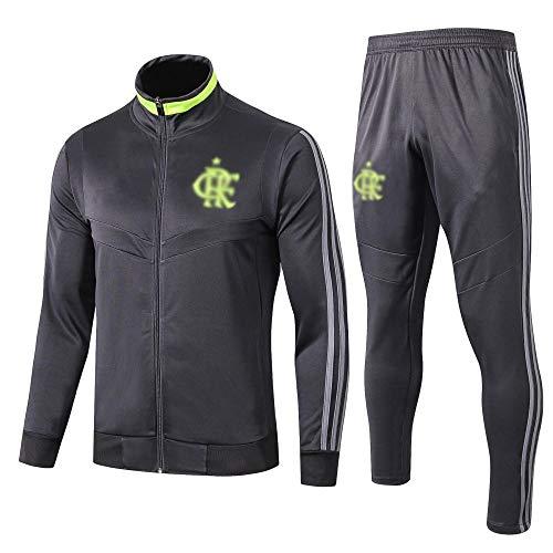 AWMSSR Fútbol Fútbol para Hombres Adultos Entrenamiento Ropa Deportiva Camiseta de fútbol Traje Deportivo de Manga Larga -977-negro_S
