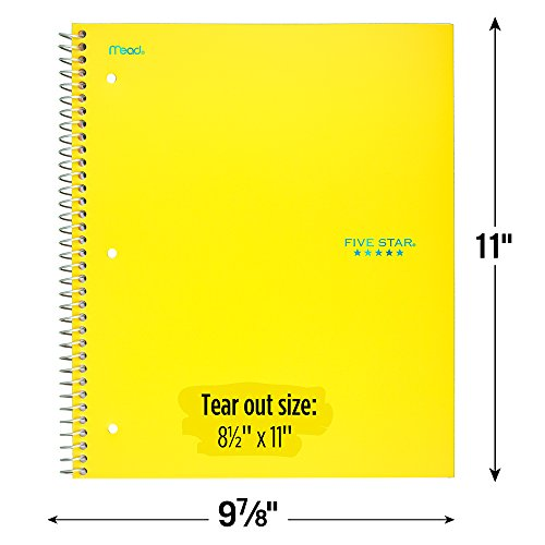 """Five Star Spiral Notebook, 1 Subject, College Ruled Paper, 100 Sheets, 11"""" x 8-1/2"""", Yellow (73475) Photo #2"""