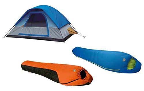 Alpinizmo High Peak USA 5 Herren Zelt + Summit 20F & Mt. Rainier 20F Schlafsack Combo, Blau/Orange, One Size