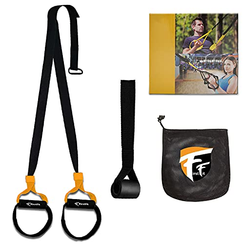 FirstFit Suspension Training Kit, All-in-One Full Body Workouts for Home, Travel, Outdoors, Gym - Bodyweight Resistance System - Build Muscle, Improve Cardio Kit Combo for Men & Women