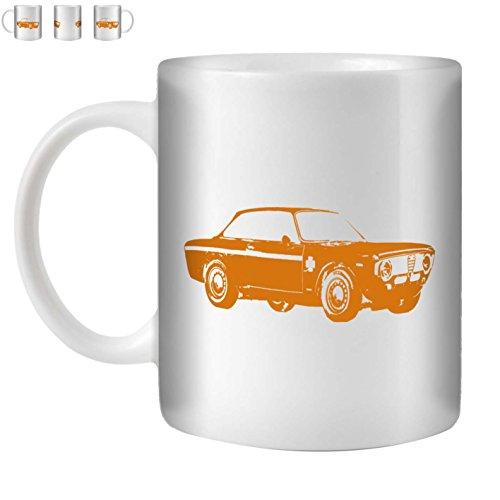 STUFF4 Tee/Kaffee Becher 350ml/Orange/Alfa GTA/Weißkeramik/ST10