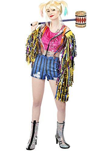 Funidelia | Disfraz de Harley Quinn con Flecos - Birds of Prey Oficial para Mujer Talla M Superhroes, DC Comics, Suicide Squad, Villanos - Multicolor