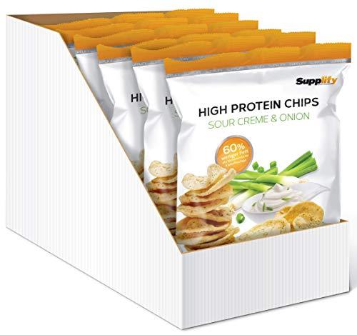 Supplify Protein Chips - Eiweiß Fitness Snack Mix Box, Whey Proteinpulver und Protein Riegel, ideal zum Abnehmen oder als Muskelaufbau Booster- 6x 50g, Sour Cream & Onion