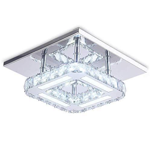 AUA Plafoniera cristallo a LED, Plafoniera led Soffitto Cristallo 18W, Plafoniera Moderne Quadrate Integrate 6500k, per Soggiorno Camera da Letto
