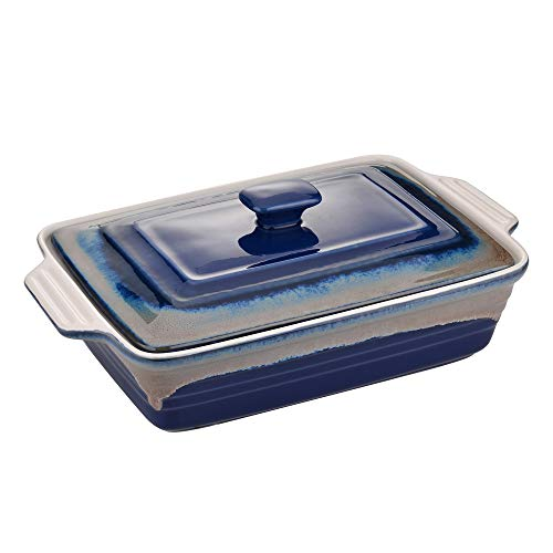 LOVECASA Stoneware Large Casserole Dish with Lid, 4.2 Quart Covered Rectangular Casserole Dish Set, Deep Bakeware Pans Set for Lasagne and Casseroles with Lid, 12.8 x 9.4 x 3.5 Inch, Blue and Grey