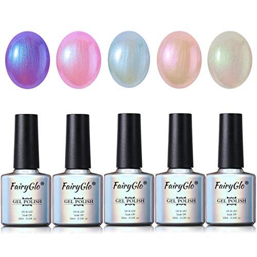 5PCS Pearl Nail Polish Gel Manicure Salon Decor Nail Art Elegant Shell Shiny Under Light UV LED Soak Off Set FairyGlo 10ml 015