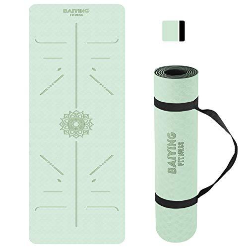 BAIYING Yogamatte, TPE Gymnastikmatte rutschfest Fitnessmatte für Workout Umweltfreundlich Übungsmatte Sportmatte für Yoga, Pilates Heimtraining, 183 x 61 x 0.6CM (LightGreen)
