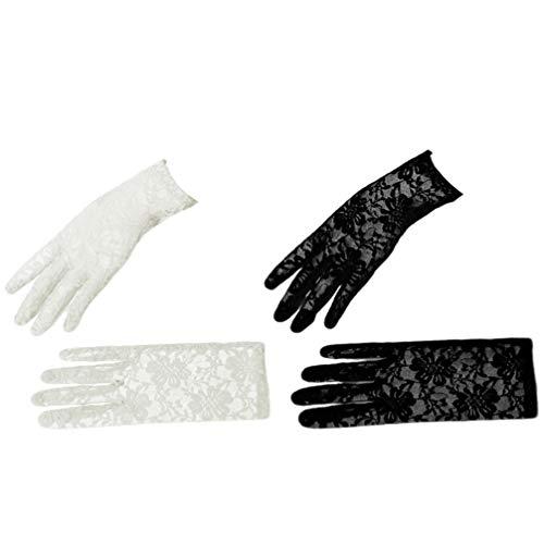 PRETYZOOM 2 Paar Transparente Handschuhe Handgelenkshandschuhe Tüll Spitze Brautkleid Handschuhe Hochzeit Braut Accessoires für Damen Damen (Weiß + Schwarz)