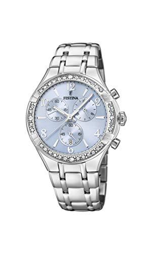 Festina Damen Chronograph Quarz Uhr mit Edelstahl Armband F20392/2