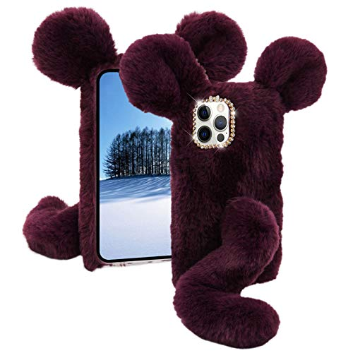 Soft Fluffy Furry Mouse Case for Samsung Galaxy A71 (Not 5G) MOIKY with Screen Protector for Samsung A71 Cute Winter Faux Fur 3D Cartoon Animal Plush Rat Phone Shockproof Protective Cover,Purple