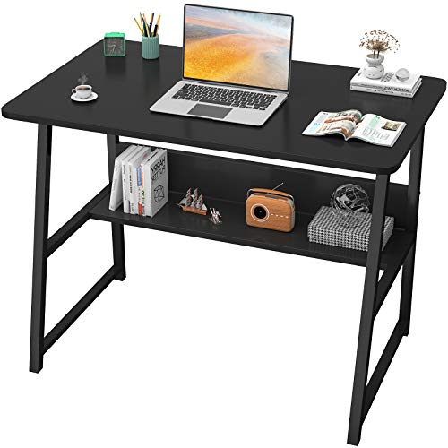 """Homfio Computer Desks for Home Office 32"""" Modern Sturdy Writing Desk with Bookshelf Study Table Desk with Metal Legs Industrial Tiny Table for Small Space, Black"""