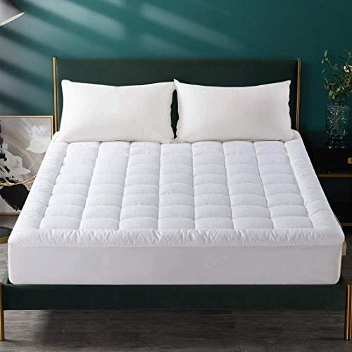 MEROUS Quilted Mattress Topper - Double Size Cotton Mattress Protector,Fitted Mattress Pad Cover (8-21 Inch Deep Pocket),135 x 190 cm