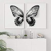 ウォールアートキャンバス絵画北欧ポスター幼稚園黒と白の蝶のプリント部屋のインテリアウォールアートの装飾50x70cm2Pcsフレームレス