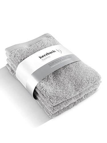 herzbach home Luxus Handtuch Gästetuch 3er-Set Premium Qualität aus 100% ägyptischer Baumwolle 30 x 50 cm 600 g/m (Silbergrau)