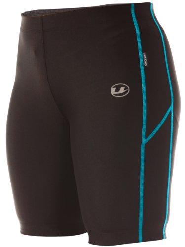 Ultrasport Damen Laufhose, Kurz, black turquioise, XL, 10284