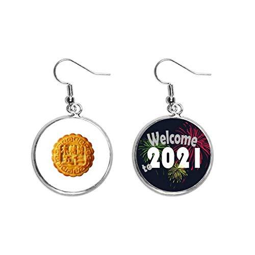 Mondkuchen-Ohranhänger mit fünf Kernen, Mondkuchen-Ohrringe, Schmuck 2021 Segen