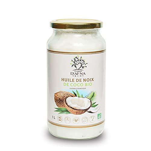 Huile de Coco Bio Extra Vierge - 1000 ml (1L) - Non Raffinée et Pure - 1ere pression à froid - Idéale Pour la cuisine et en cosmétique