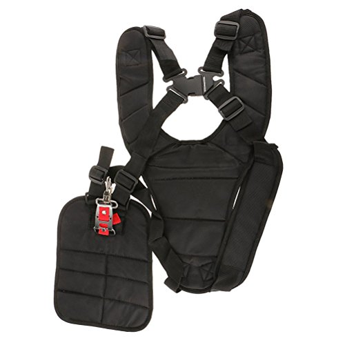 Yardwe Cintura Decespugliatore Nero Cinghia decespugliatore Comfort Doppio Tracolla decespugliatore in Nylon Regolabile Accessori per decespugliatori (Nero,11 x 4,7 x 3,6 Pollici)