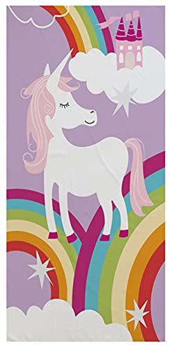 Stillshine. Grande Toalla de Playa Poliéster XL XXL,Secado Rápido Toalla de Baño,Unicornio Caballos Arcoíris Flores Motivo,para Nadar,Cámping,Bañarse,Picnic (Color 4,150 × 180 cm)