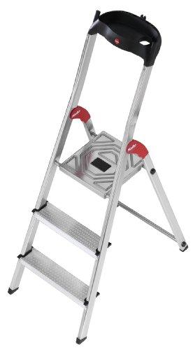 Hailo 5_8503-001 L60 Sicherheits-Haushaltsleiter, aus Aluminium, 3Stufen