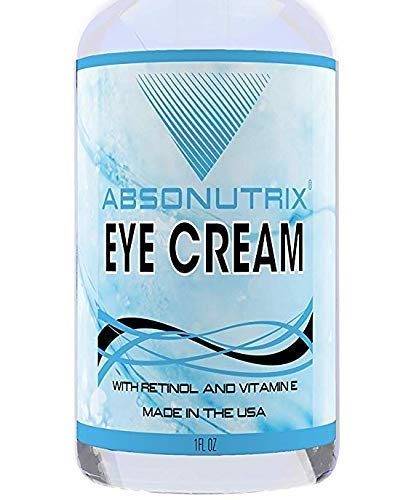 Absonutrix Anti-Aging Eye Cream, Skin Moisturizer with Retinol & Vitamin E for Wrinkles, Fine Lines, Crows Feet, Dark Circles, Bags & Puffiness, for Under & Around Eyes, Made in the USA, 1 Fl. Oz