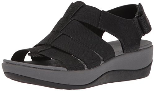 Clarks Women's Arla Shaylie Platform, Black Elastic Fabric, 8 Medium US