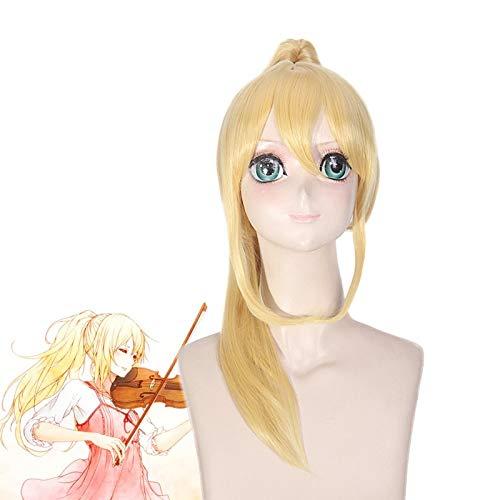 Pelucas de anime tu mentira en abril Miyazono Kaori largo recto dorado rubio Clip cola de caballo peluca sintética disfraz de Cosplay para Halloween