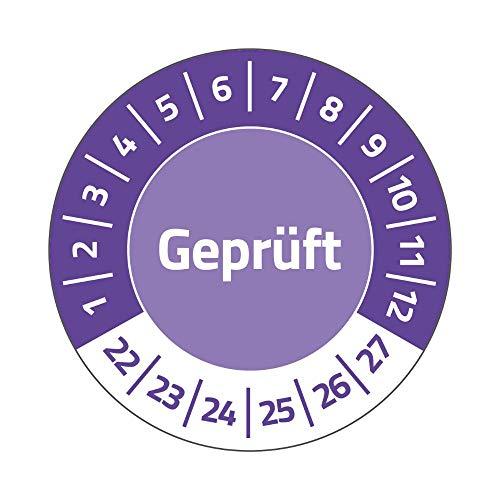 AVERY Zweckform 80 Prüfplaketten 2022-2027 Geprüft (widerstandsfähig, selbstklebend, Ø 30 mm, Prüfaufkleber, beschriftbare Prüfsiegel aus Vinyl-Klebefolie) Art. 6952-2022, violett
