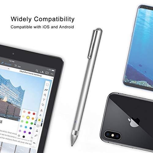Active Stylus Stift für sämtliche Touchscreens. Wiederaufladbarer Eingabestift Pencil mit 1,45mm feiner Spitze, der kapazitive Stylus ist kompatibel für Apple iPad, iPhone und Samsung Tablets
