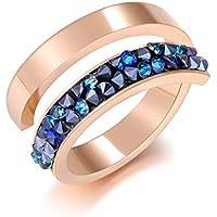 ETEVON Adjustable Stainless Steel Ring for Women (Sizes 7-12) (Rose Gold)