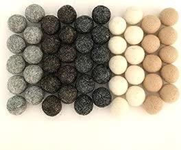 Wildflower by Hu Hands 100% Handmade Wool Felt Pom Poms - Weathered Neutrals - Gray Grey - (50) Pure New Zealand Wool Felt Balls - DIY Pompoms - Approximately 1