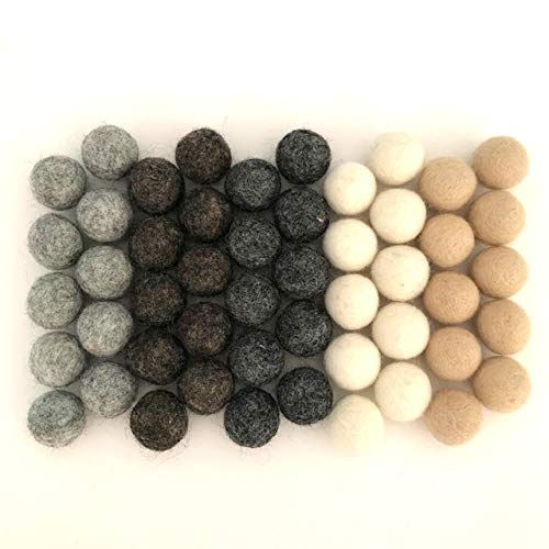 Weathered Naturals Wool Felt Balls (50) Pom Poms in Neutral Earth Tones Including Grays and Browns for Crafts, Garland, & Decor .8-1 Inch Size | Hand Felted in Nepal from 100% NZ Wool | Bag Included