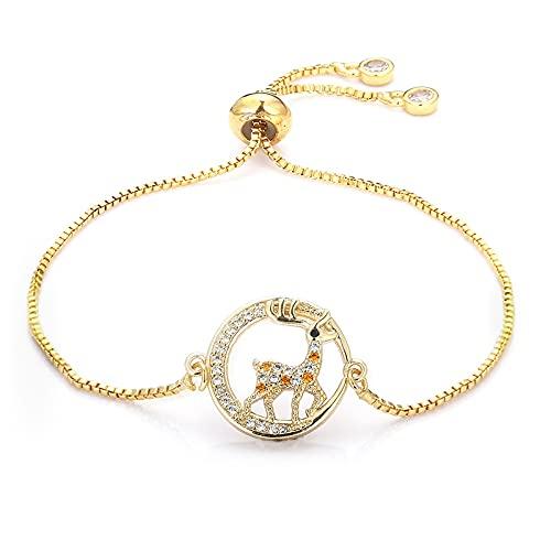 HUREWQ PulseraPulseras de Oro para Mujer brazaletes corazón del Arco Iris Pulseras del Ojo del Diablo circonitas Pulsera de Chian Ajustable de Cobre joyería para Mujer
