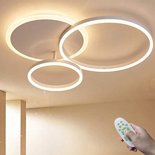 LED Deckenleuchte Moderne Dimmbare Wohnzimmerlampe Ring Designer Deckenlampe mit Fernbedienung Innenbeleuchtung Metall Acryl Beleuchtung Schlafzimmer Küche Esszimmer Lichter 3000K-6500K (Weiß, 3-Ring)