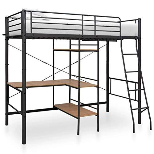vidaXL Etagenbett mit Tischrahmen Metallbett Hochbett Bett Kinderbett Jugendbett Bettgestell Schlafzimmerbett Grau Metall 90x200cm