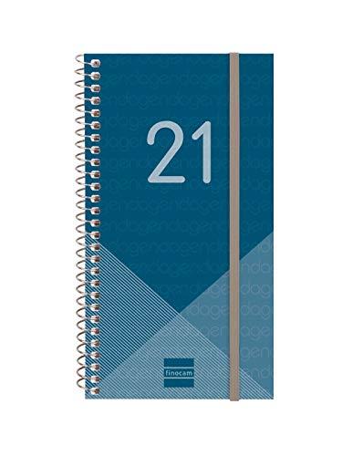 Finocam - Agenda 2021 Semana vista apaisada Espiral Year Azul Español